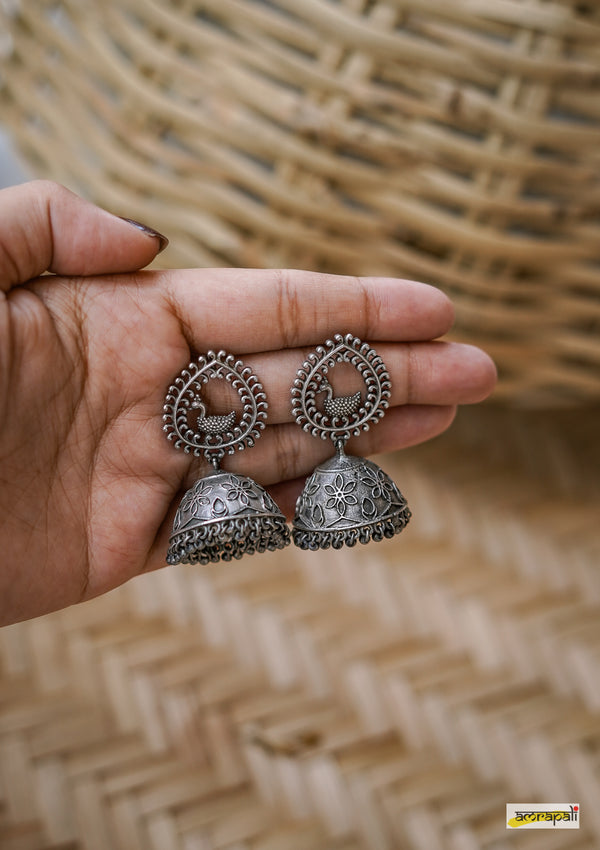 German Silver Oxidized Bird Filigree Jhumkas