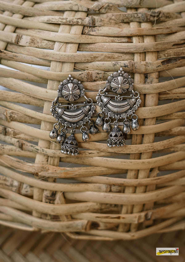 German Silver Tribal Chunky Earrings