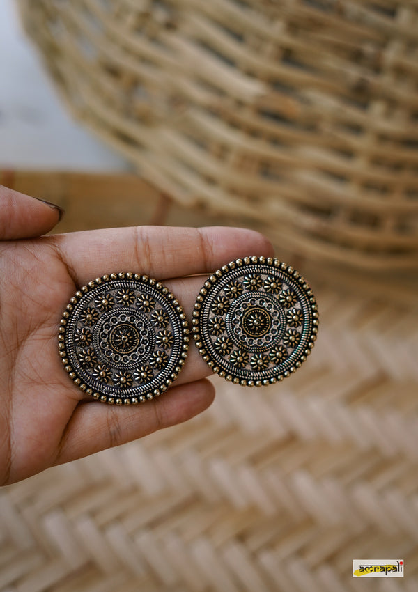 Dual-toned Floral Embossed Statement Studs