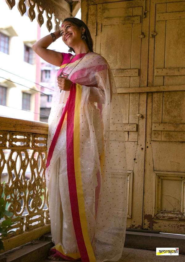 Handwoven Matka Muslin with Woven Sequins