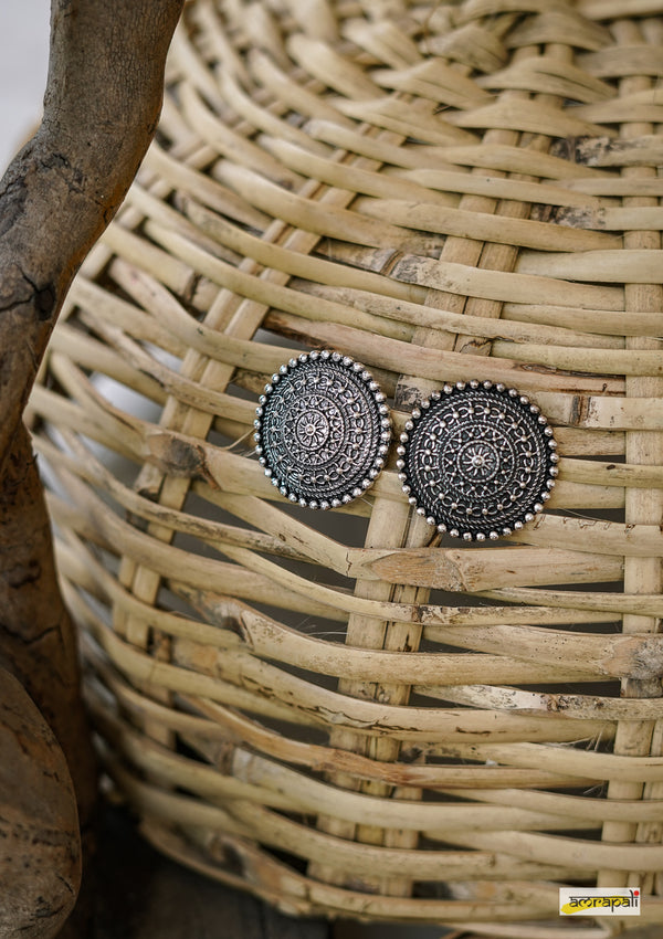 German Silver Floral Carved Statement Studs