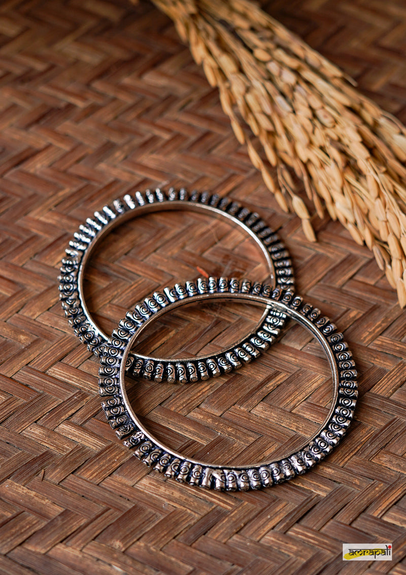 German Silver Carved Tribal Bangles