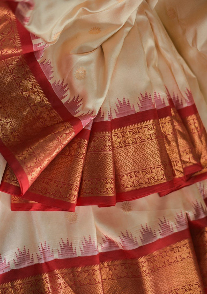 Ivory Handwoven Pure Silk Gadwal - LIMITED EDITION
