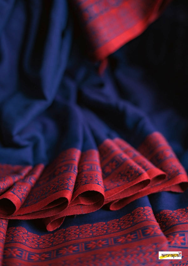 Handwoven Pure Mercerised Cotton with Manipuri Pattern Threadwork