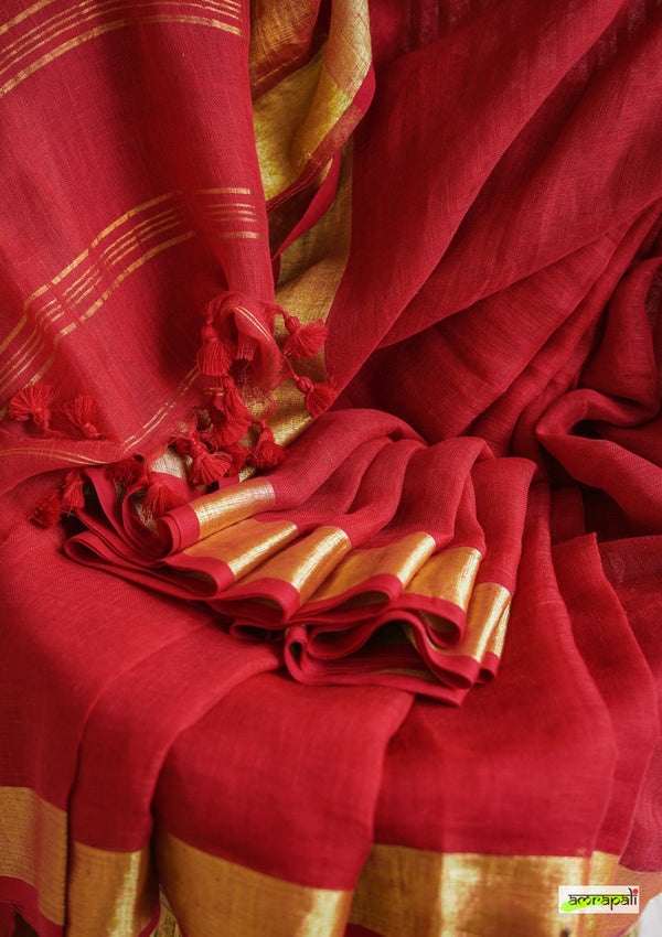 Handwoven Pure Linen with Zari Border - Red