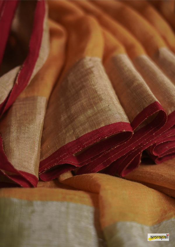 Handwoven Pure Linen with Gold and Silver Accents