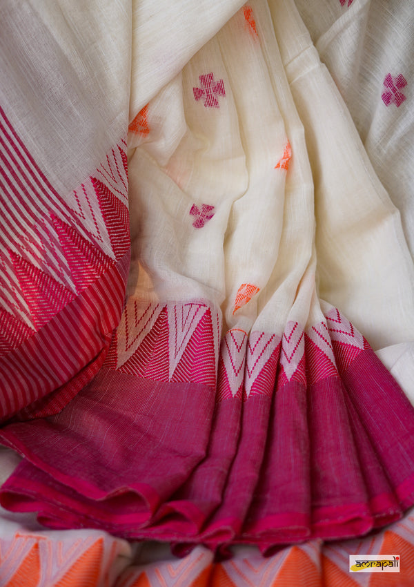 Pure Handspun Khadi Jamdani with Temple Border