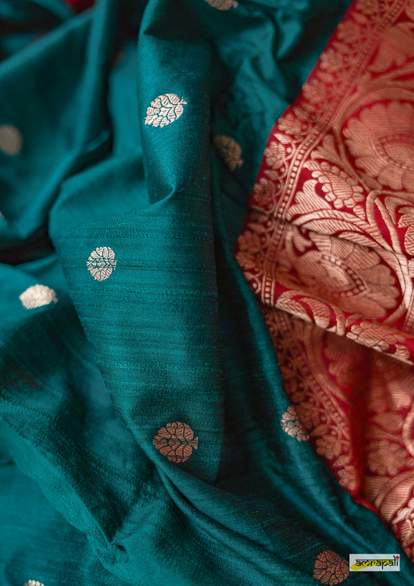 Handwoven Teal Blue Pure Tussar Benarasi - Limited Edition