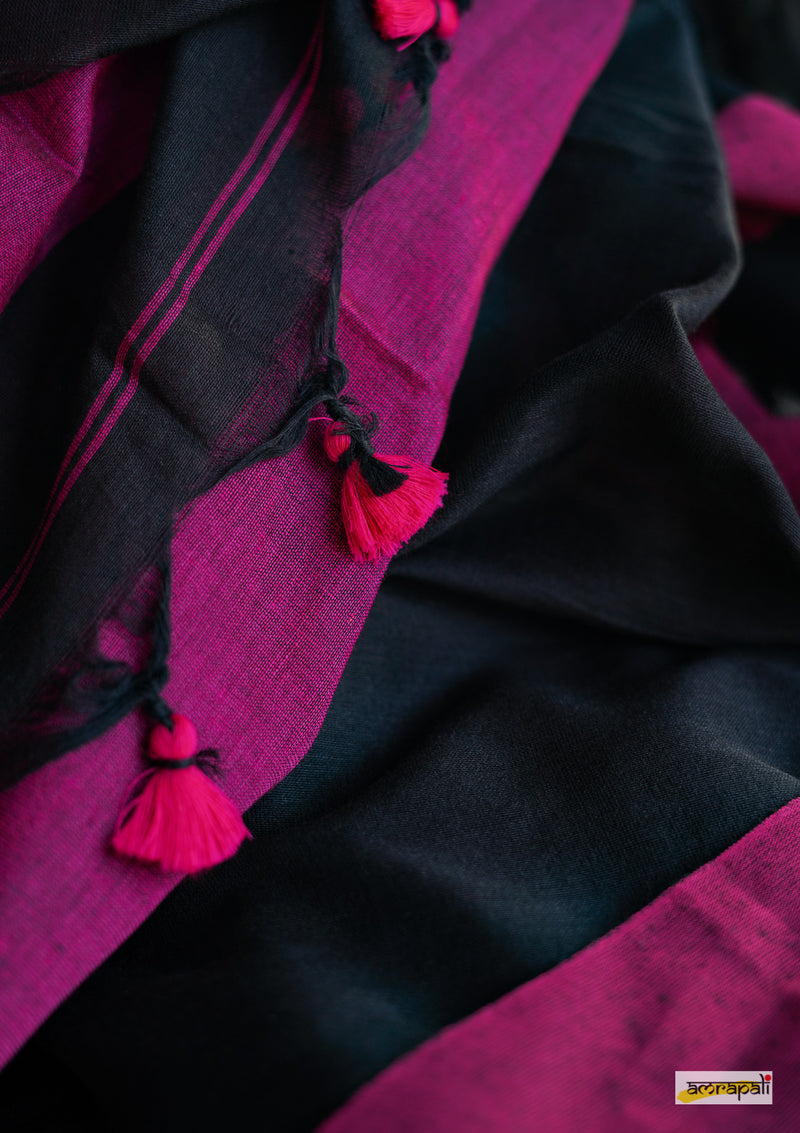 Black Colorblocked Handloom Cotton with Pompoms