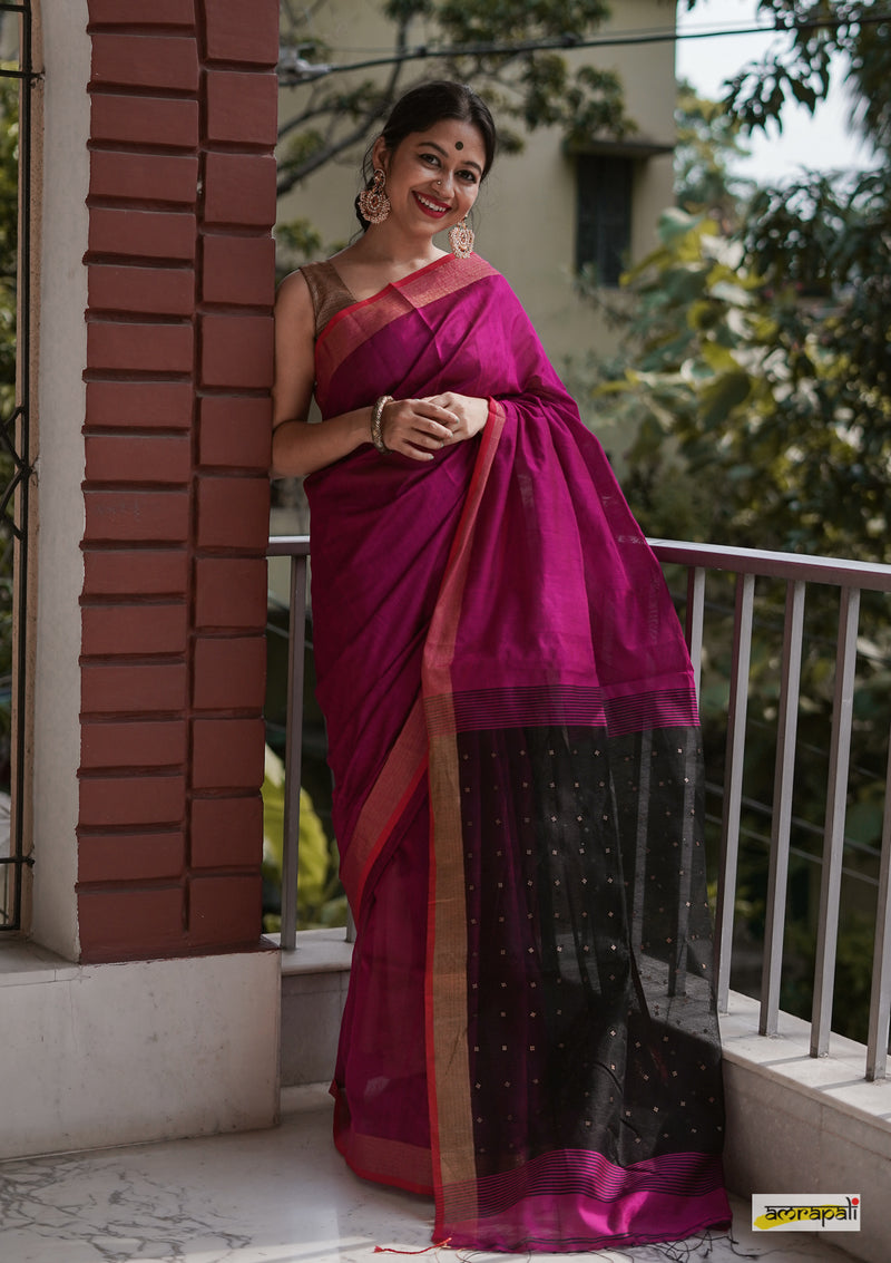 Handloom Cotton Resham with Woven Sequined Palla - Pink