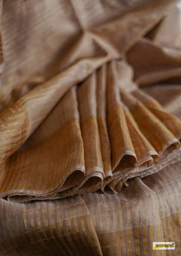 Handwoven Pure Tussar Silk with Zari Stripes