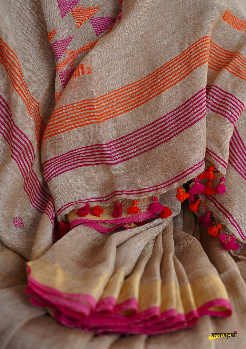 Handwoven Pure Linen Jamdani with Zari Border
