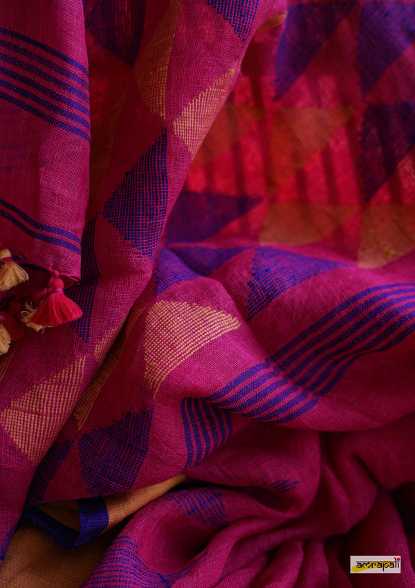 Handwoven Pure Linen Jamdani with Triangle Motifs on Palla