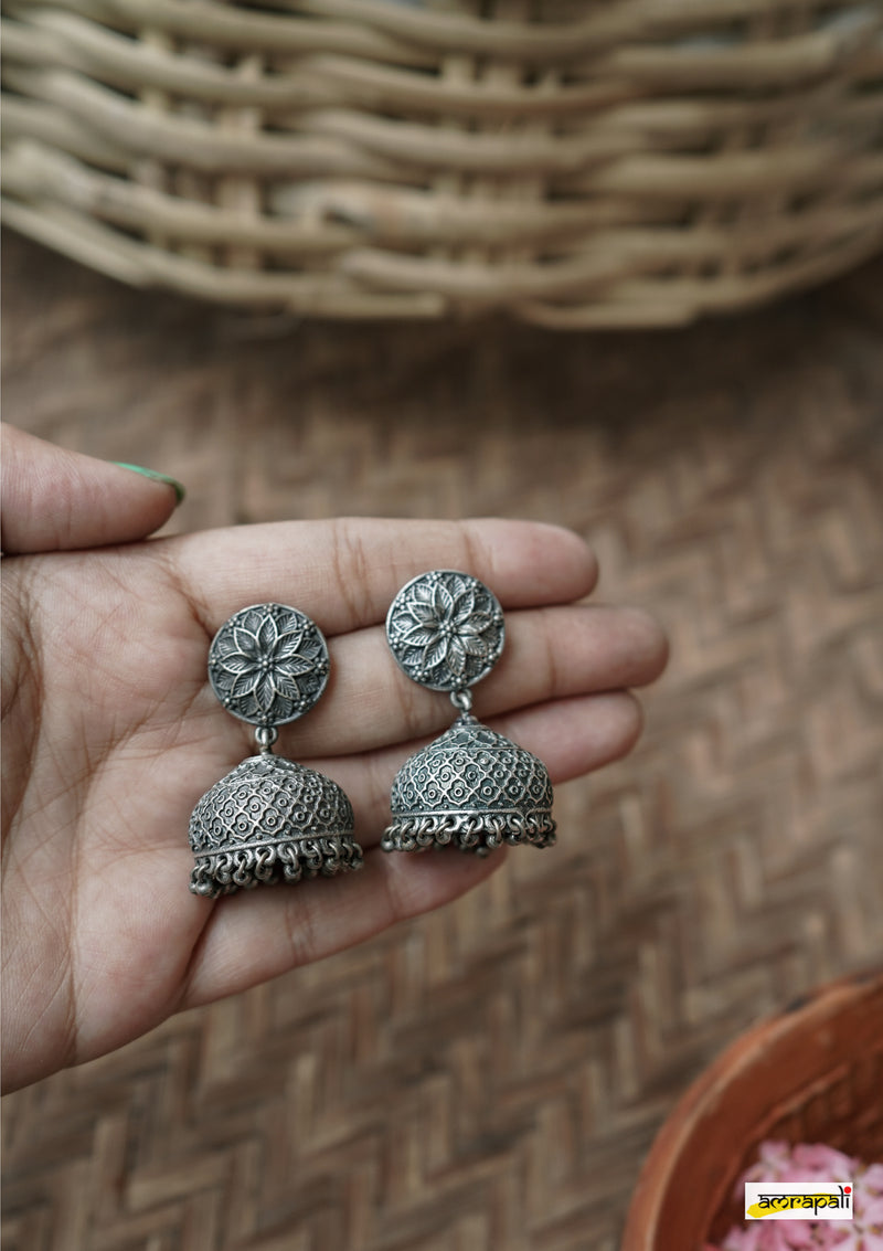 German Silver Antique Floral Embossed Jhumkas