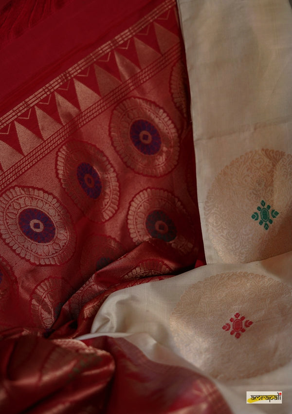 Handwoven Pure Katan Silk with Antique Gold Motifs