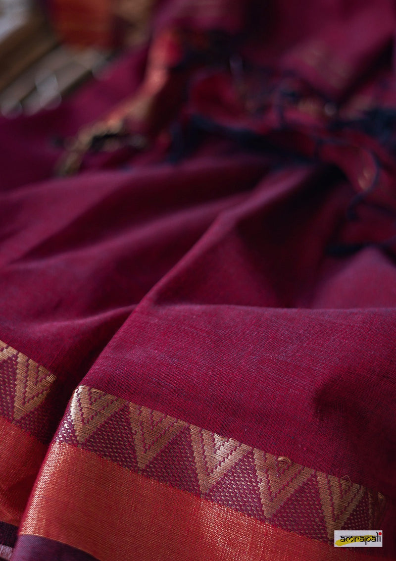Maroon Cotton saree with Woven Gold Temple Border