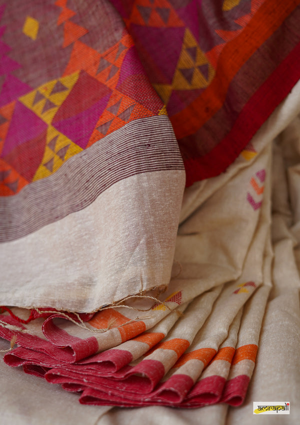 Pure Handwoven Tussar Noil Silk with Resham Threadwork