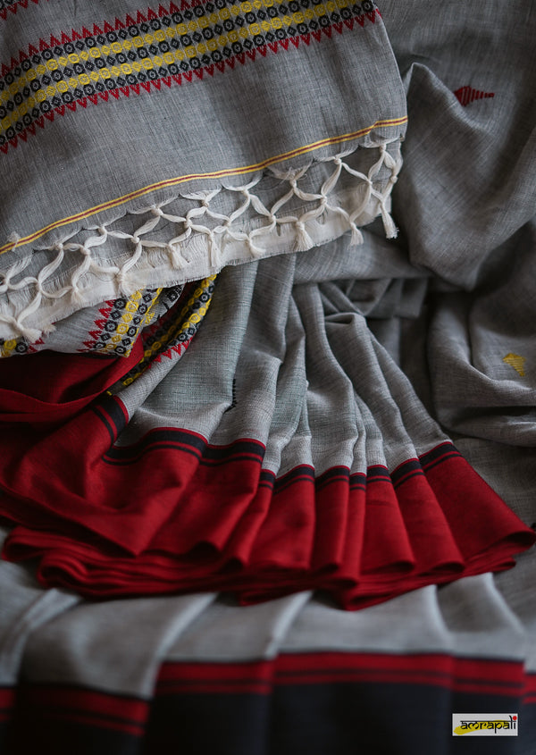 Pure Handspun Khadi with Jamdani Fish Motif
