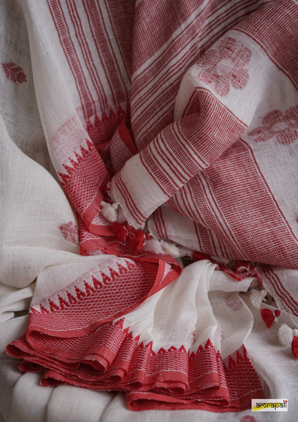Handwoven Pure Linen Jamdani with Temple Border