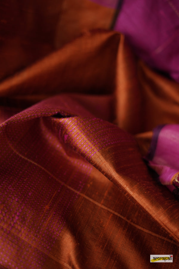 Handwoven Pure Dupion Silk with Gold Zari Accents