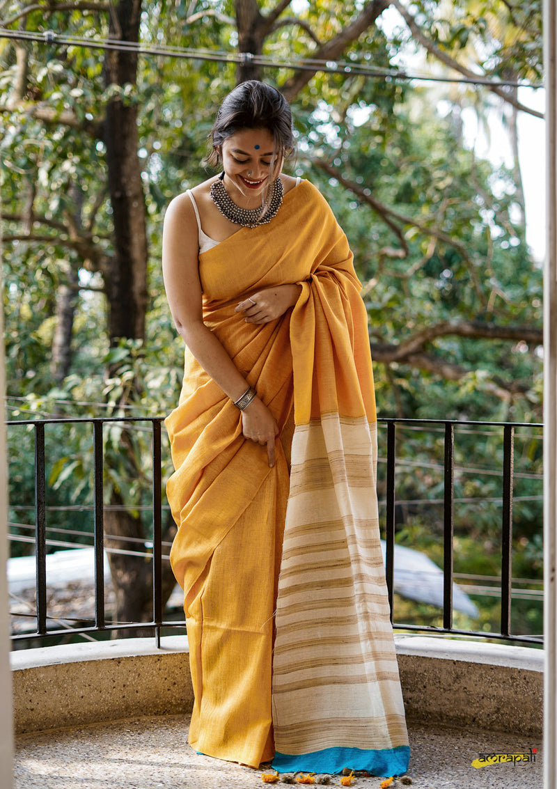 Yellow Handwoven Pure Dyed Matka Silk