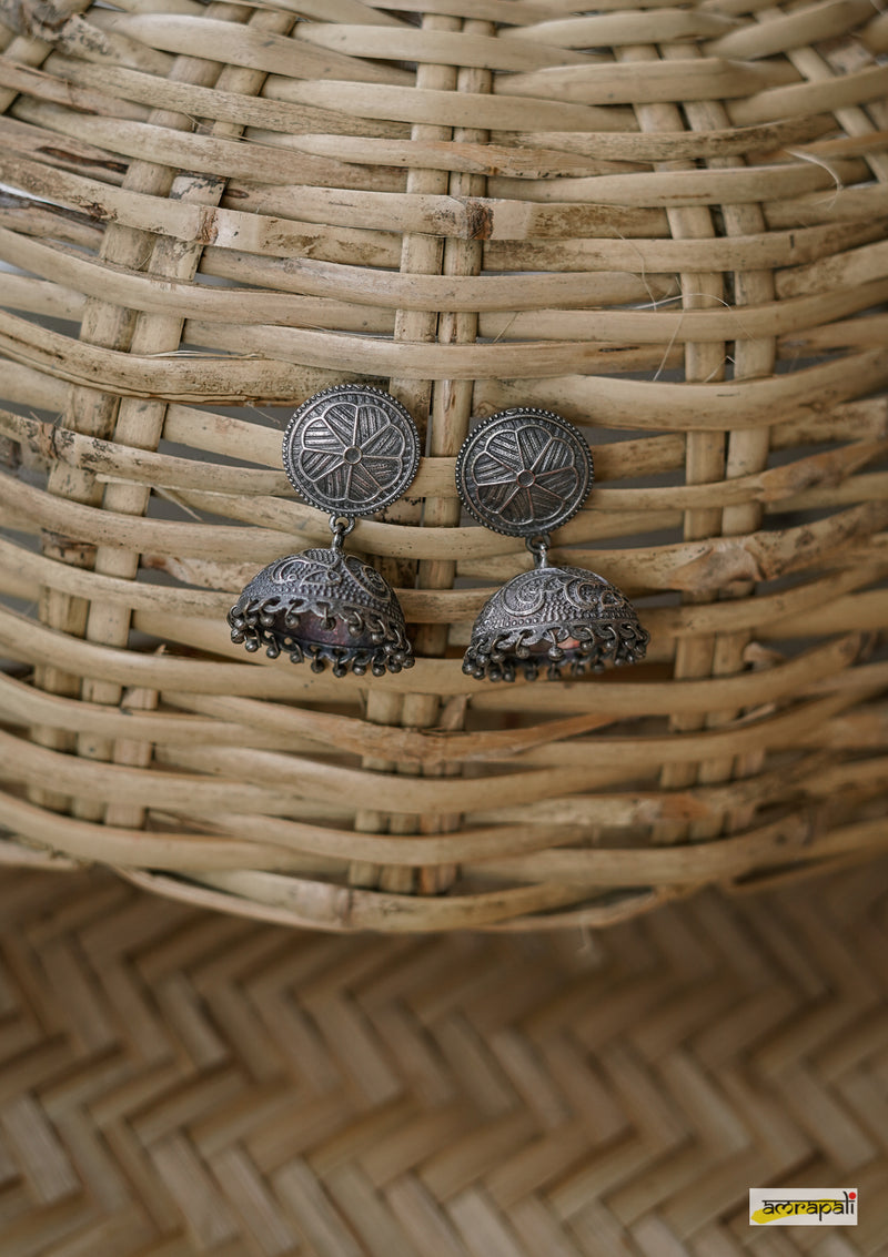 German Silver Floral Oxidised Jhumkas