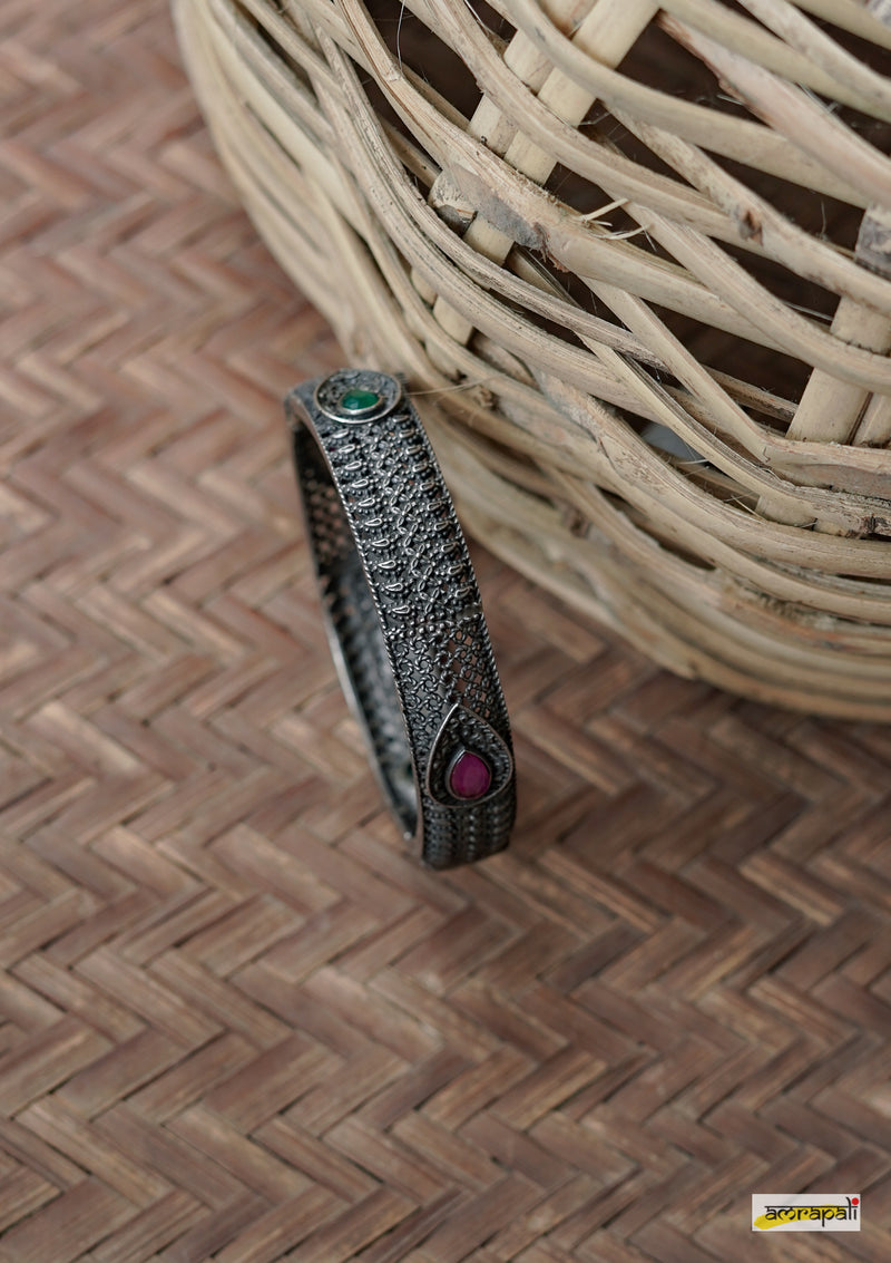 Oxidized Stone-studded German Silver Filigree Kada