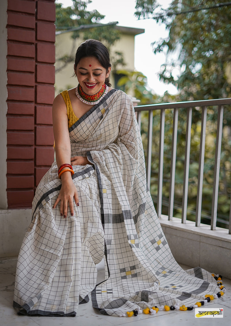 Checkered Handloom Cotton with Jamdani Motifs
