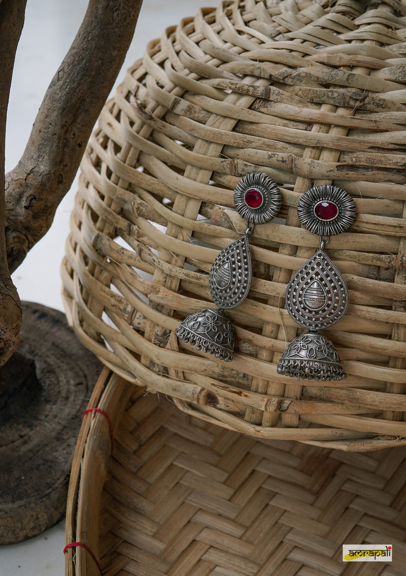 Stone-studded German Silver Leaf Drop Jhumkas - Red