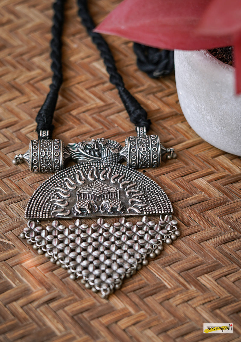 German Silver Black Threaded Royal Pendant Necklace