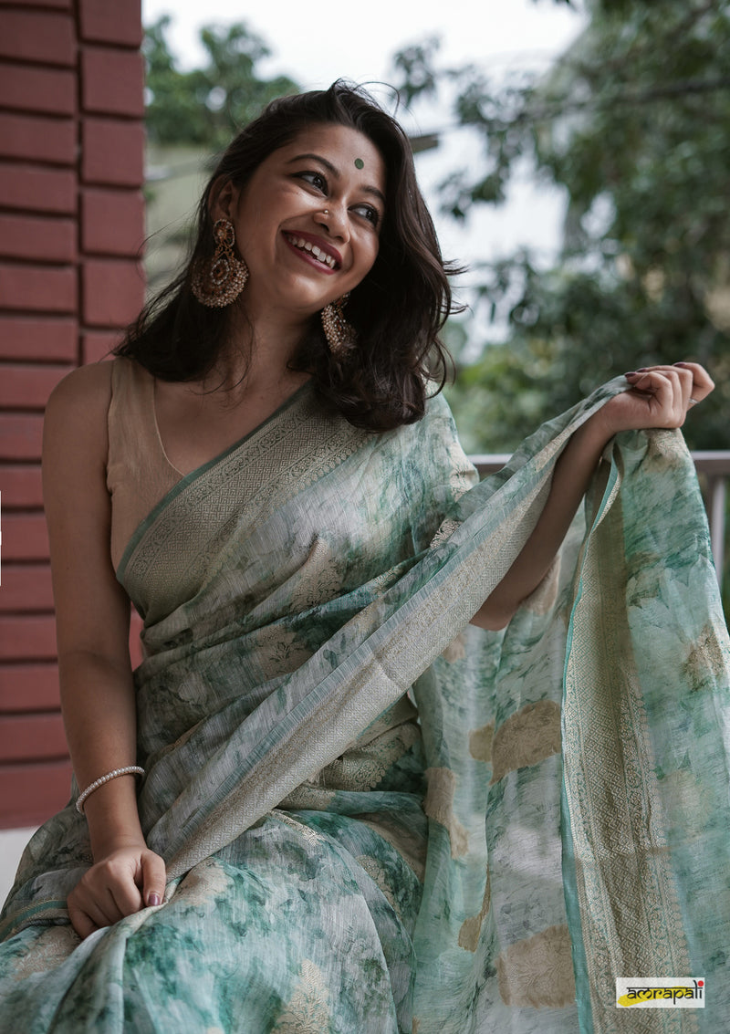 Handwoven Silk Linen Benarasi with Zari and Resham Motifs - Green