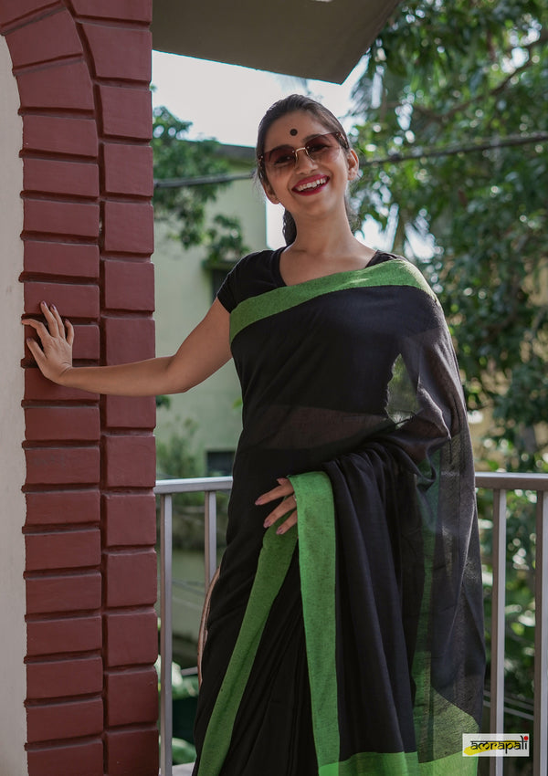 Black Handloom Cotton with Pompoms