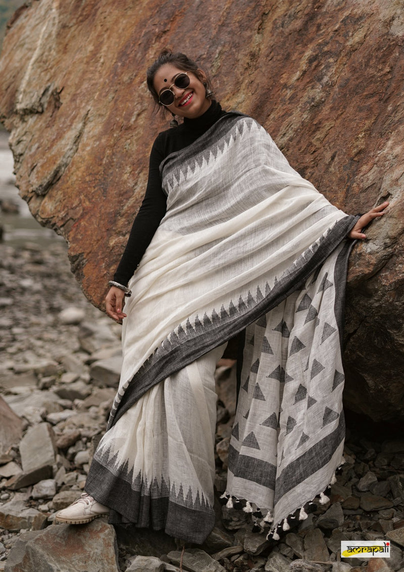 White Handwoven Pure Linen Jamdani with Woven Temple Border