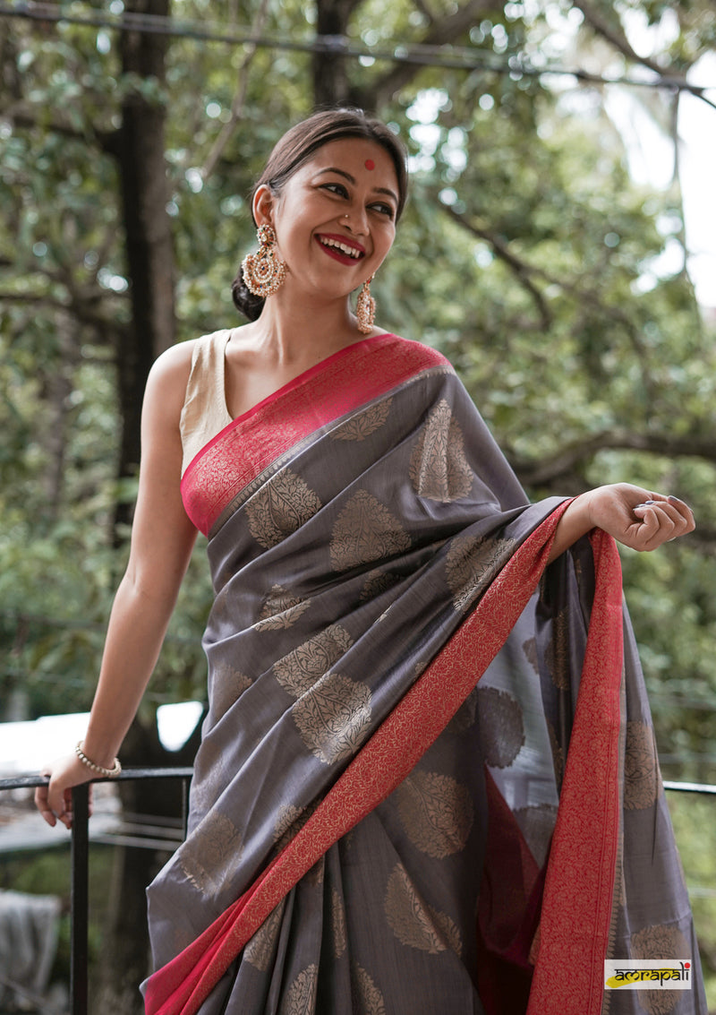 Handwoven Pure Muga Benarasi with Antique-Gold Motifs