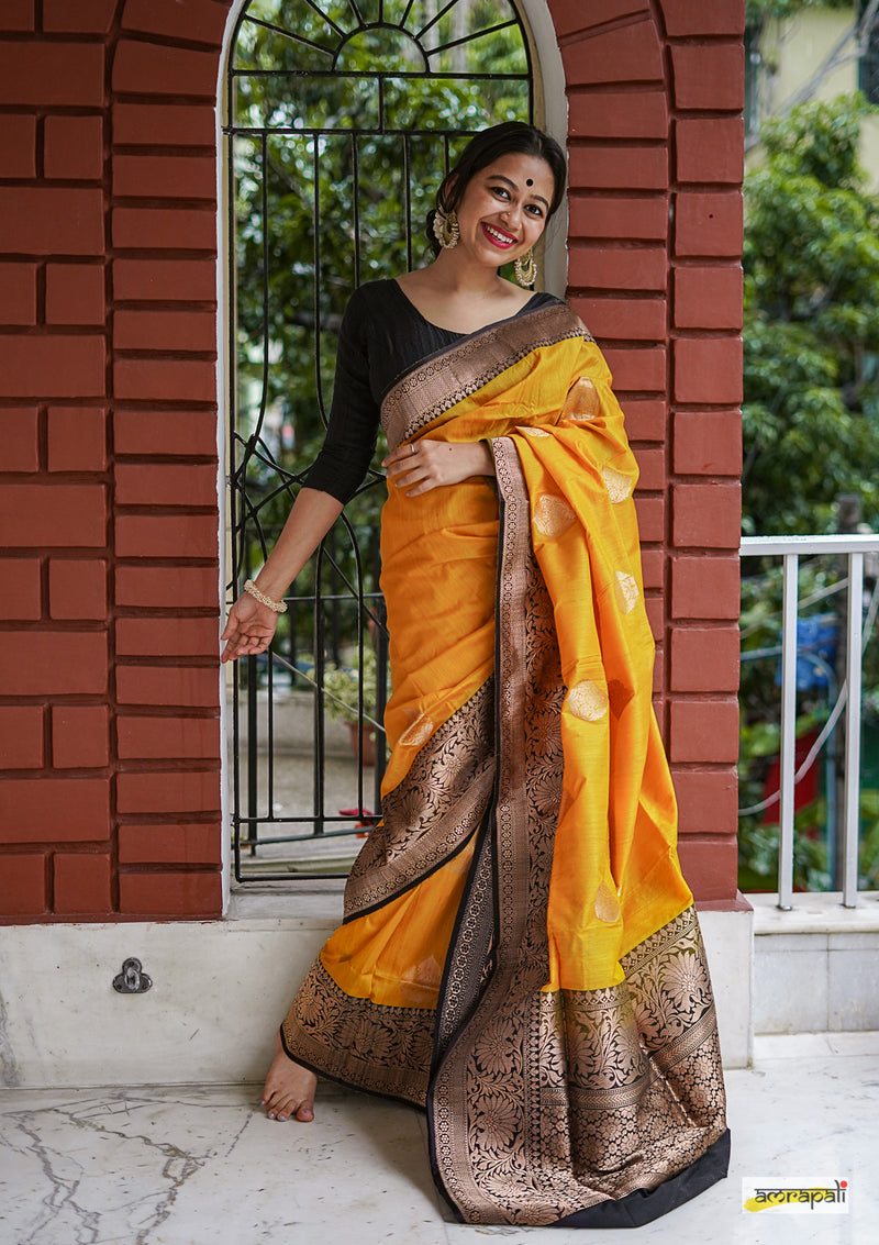 Handwoven Yellow Pure Tussar Benarasi - Limited Edition