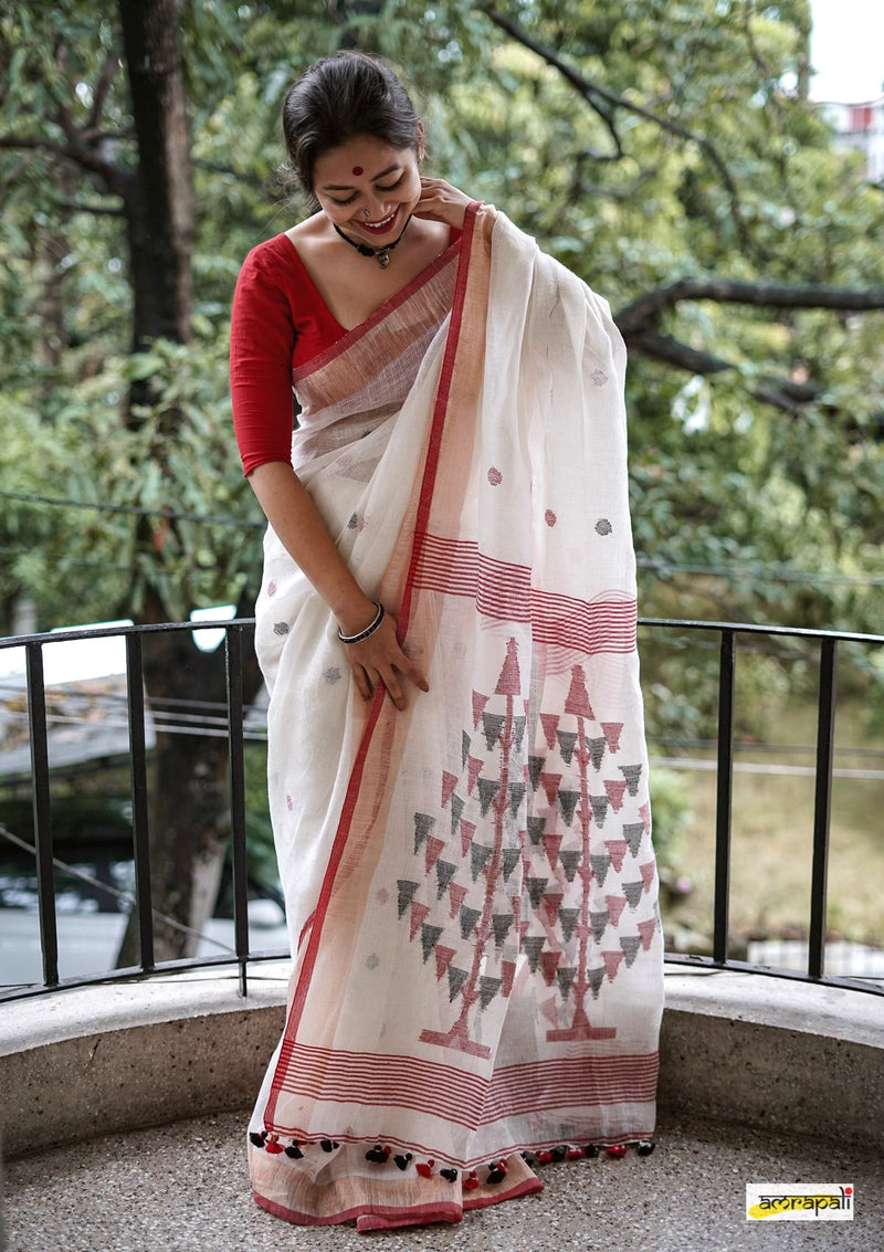 Handwoven Pure Linen Jamdani with Polka Buti and Tree Motif
