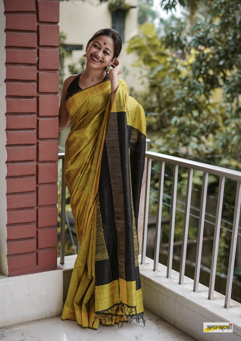 Handwoven Pure Dupion Silk with Gold Zari Accents - Yellow