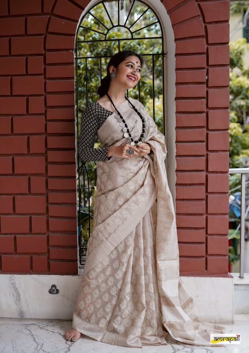 Handwoven Pure Tussar with Embroidery