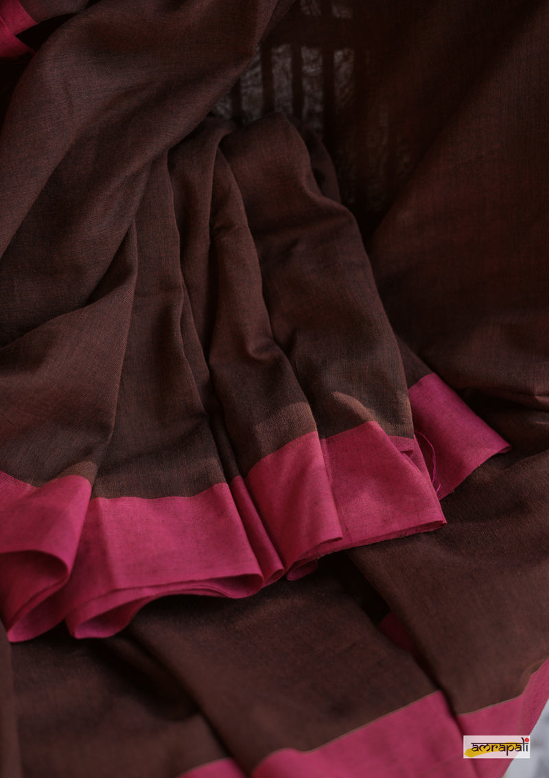 Handloom Cotton with Pompoms - Brown