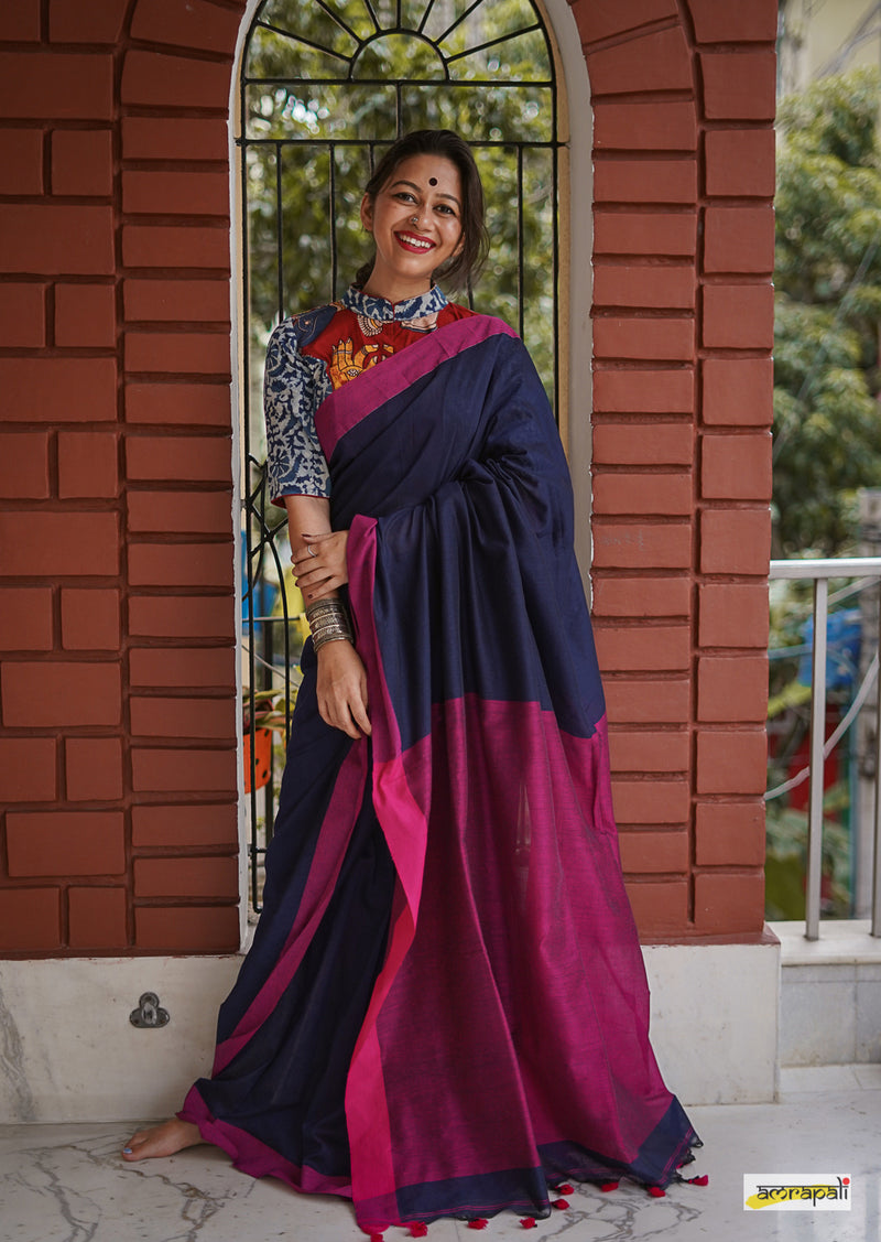 Navy Blue Handloom Cotton with Pompoms