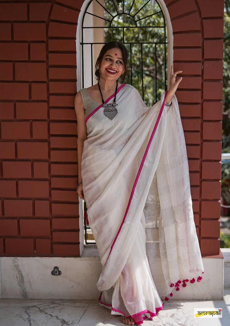 Handwoven Pure Linen with Zari Border