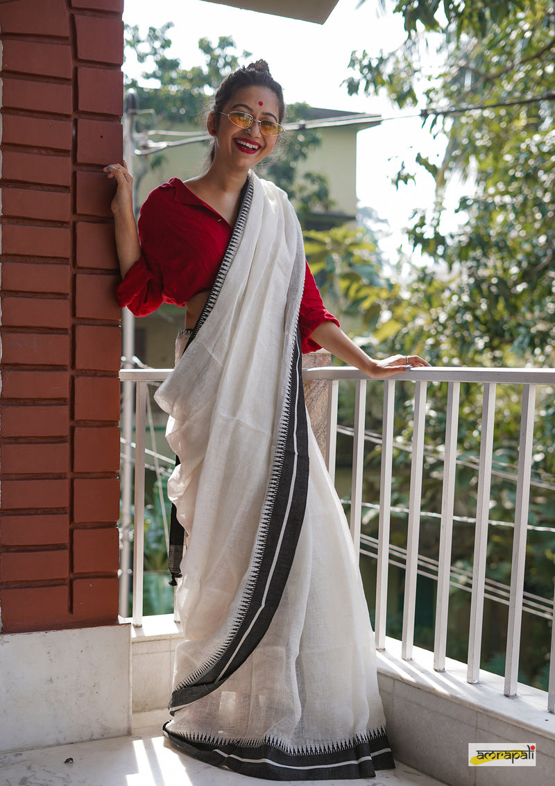 Handwoven Monochrome Pure Linen Jamdani with Temple Border