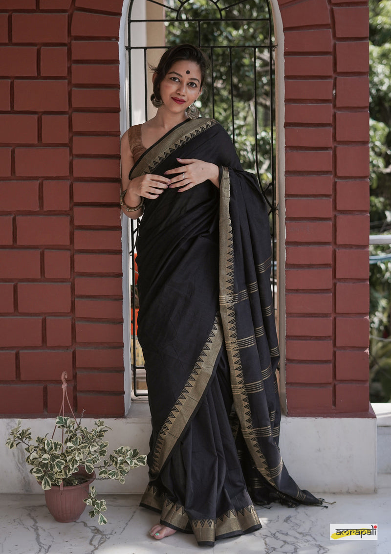 Handloom Cotton with Woven Gold Temple Border