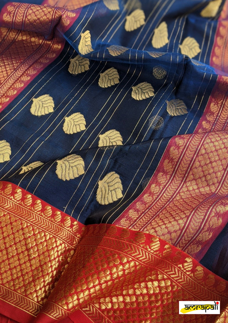 Blue Handloom Pure Chanderi Katan Silk