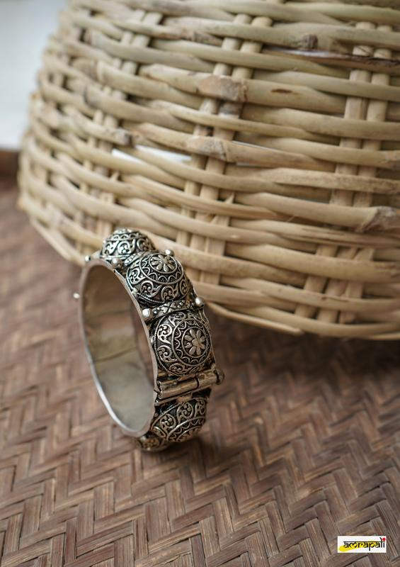 German Silver Statement Floral Carved Kada