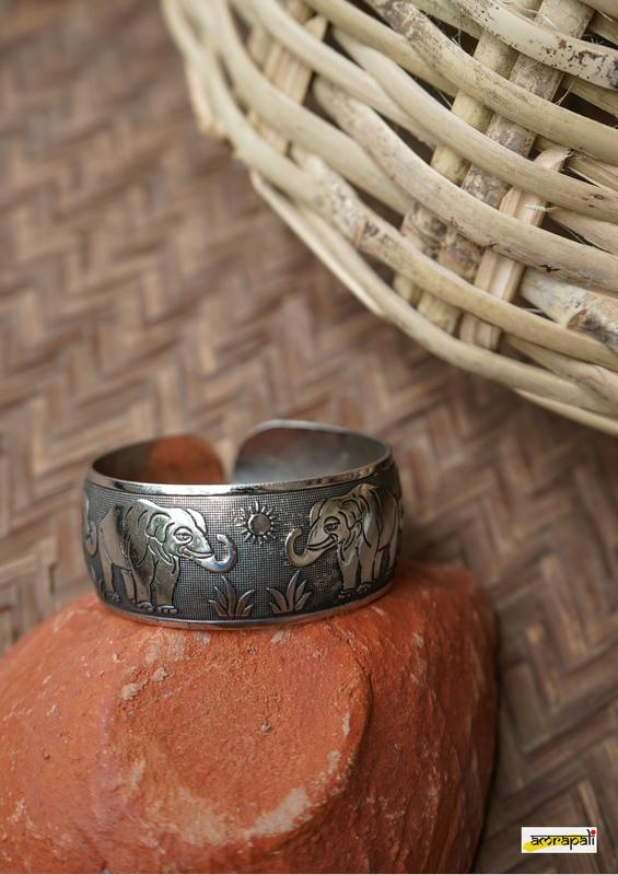 German Silver Antique Finish Elephant Engraved Cuff