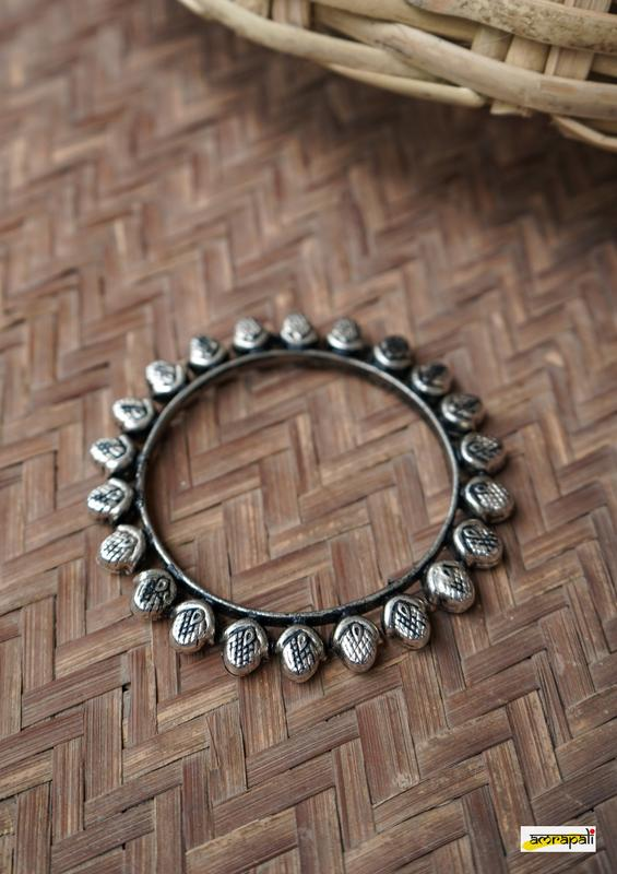 German Silver Tribal Antique Finish Bangle