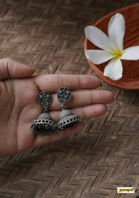 German Silver Antique Leaf Drop Two-tiered Jhumkas