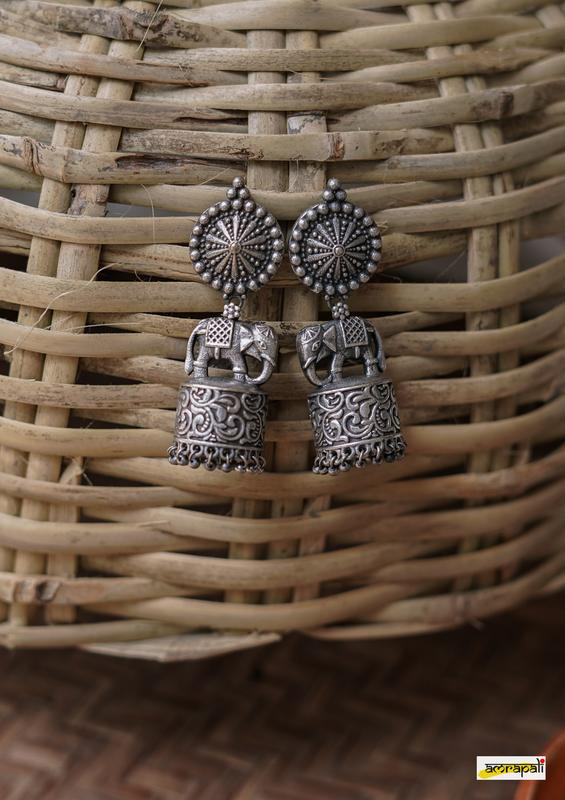 German Silver Antique Floral Elephant Embossed Jhumkas