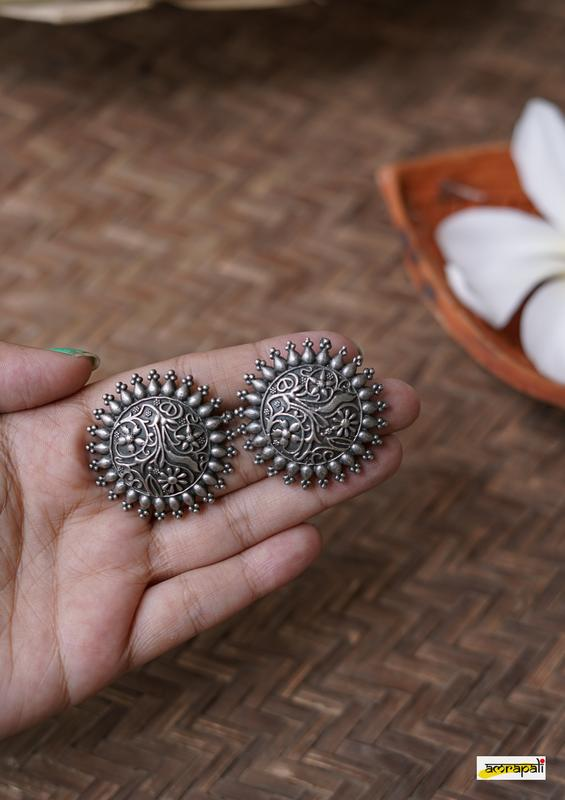 German Silver Antique Floral Embossed Studs